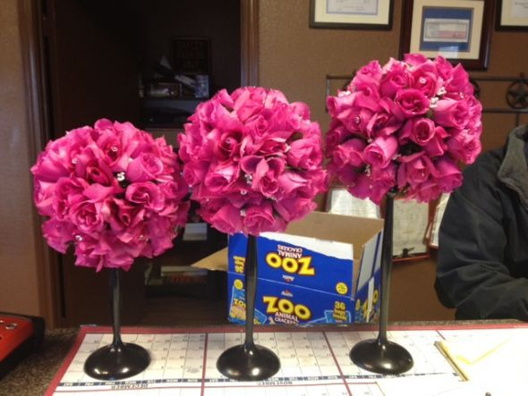 Hot pink floral centerpieces wedding black flower