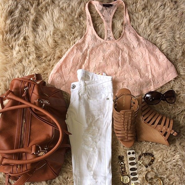 shredded jeans with this blush pink floral lace crop top