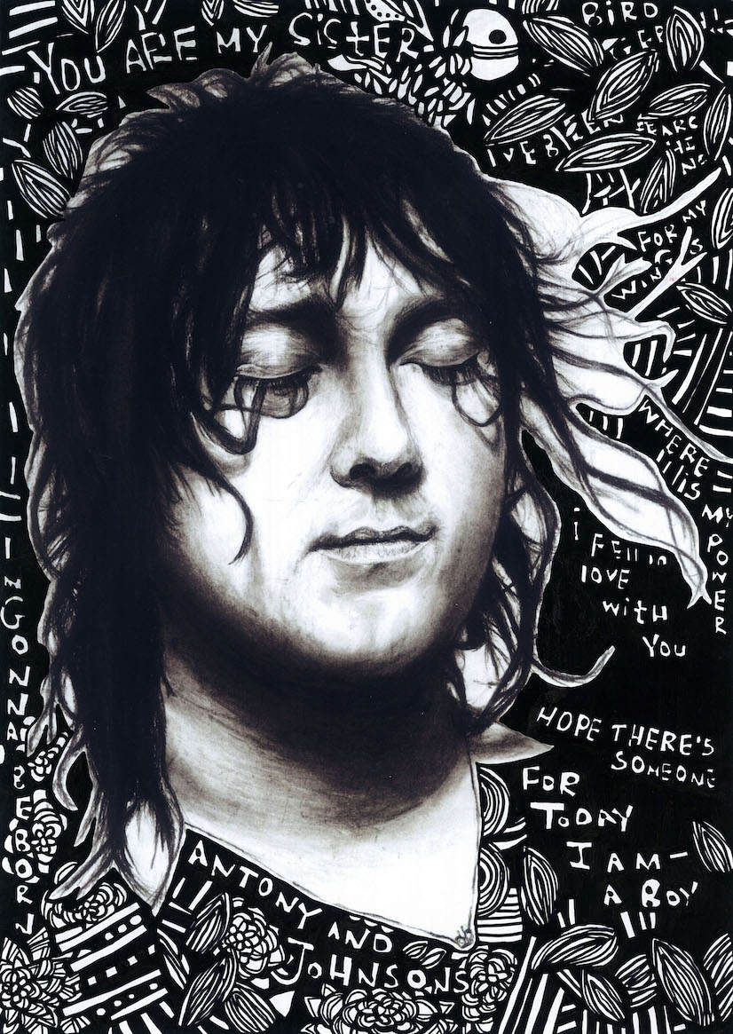 Anohni Antony Hegarty Antony And The Johnsons Charcoal Drawing And