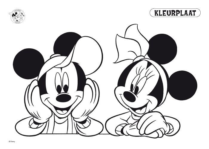 kleurplaten mickey en minnie mouse