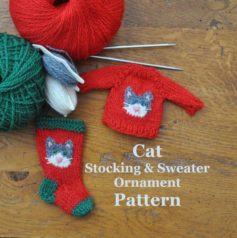 Cat Christmas Stocking and Sweater Ornaments Knitting ...