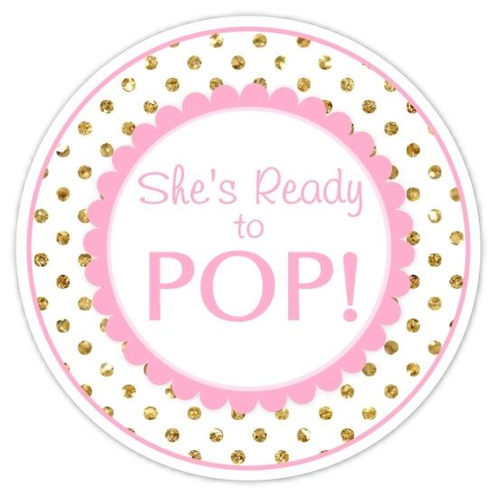 Baby Shower Ready To Pop Labels Gold Dots And Pink Stickers