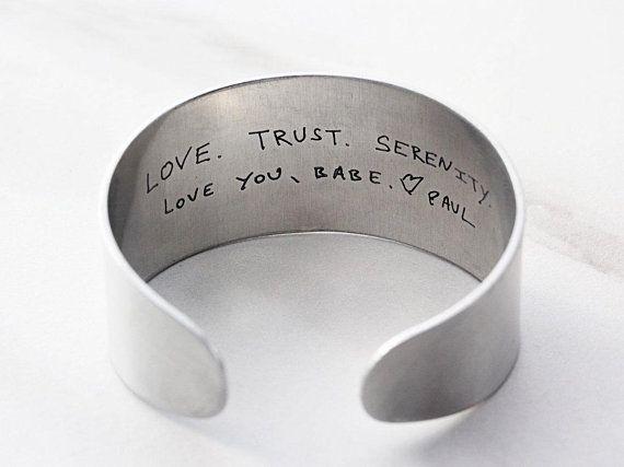 bf63c105761 Actual Handwriting Bracelet - Inside Engraved Handwriting, Personalized  Cuff Bracelet, Engraved Signature, Custom Cuff Bracelet - Thick Cuff