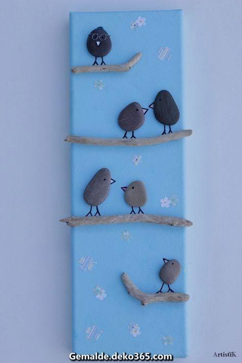Charismatische Pebble artbild pe vögel #bastelnmitsteinen