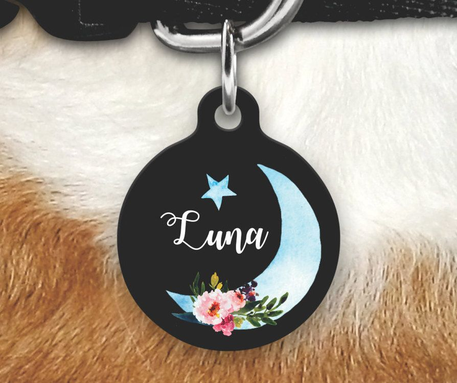 502a4cef5bb0 Moon Pet Tag - Girly Pet Tag - Dog Tag For Dogs - Personalized Pet ...