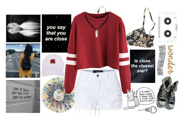 """woke up on the wrong side of reality"" by frankiedancer ❤ liked on Polyvore featuring Princesse tam.tam, LE3NO, Armitage Avenue and Converse"