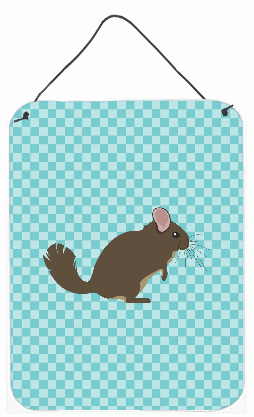 Chinchilla blue check wall or door hanging prints bbds