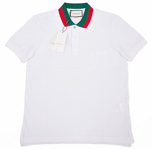 3289850e Gucci Mens Polo Shirt White with Green and Red Collar (2XL) | Mens ...