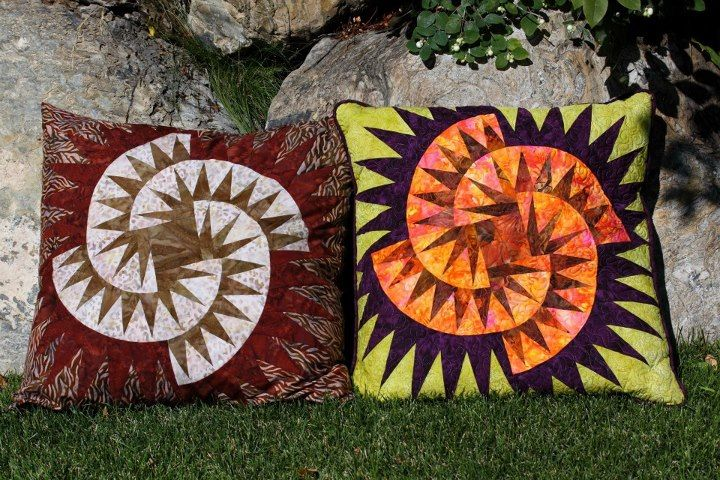 Tumbleweeds/Witches Brew Pillows, No pattern ~ Quiltworx.com made by Certified Instructor, Catherine Erickson