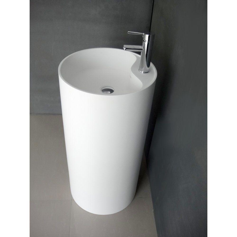duvalli notion designer freestanding floorstanding solid surface stone resin round basin sink. Black Bedroom Furniture Sets. Home Design Ideas