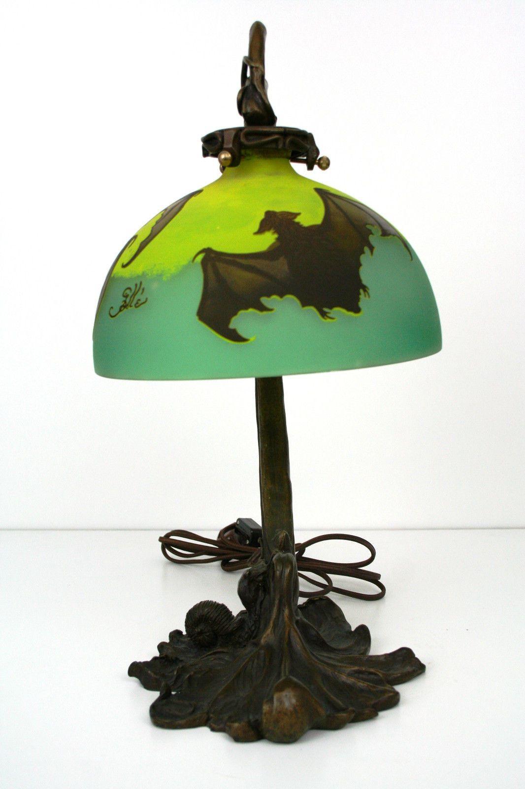 Art Nouveau Galle Style Bat Shade Table Lamp Ebay Antique