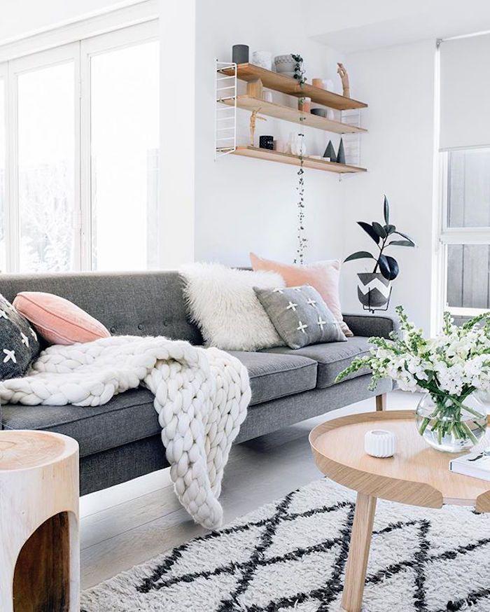 Idées Salon Nordique Le Froid Et Minimalisme - Canapé convertible scandinave pour noël objets de décoration d intérieur