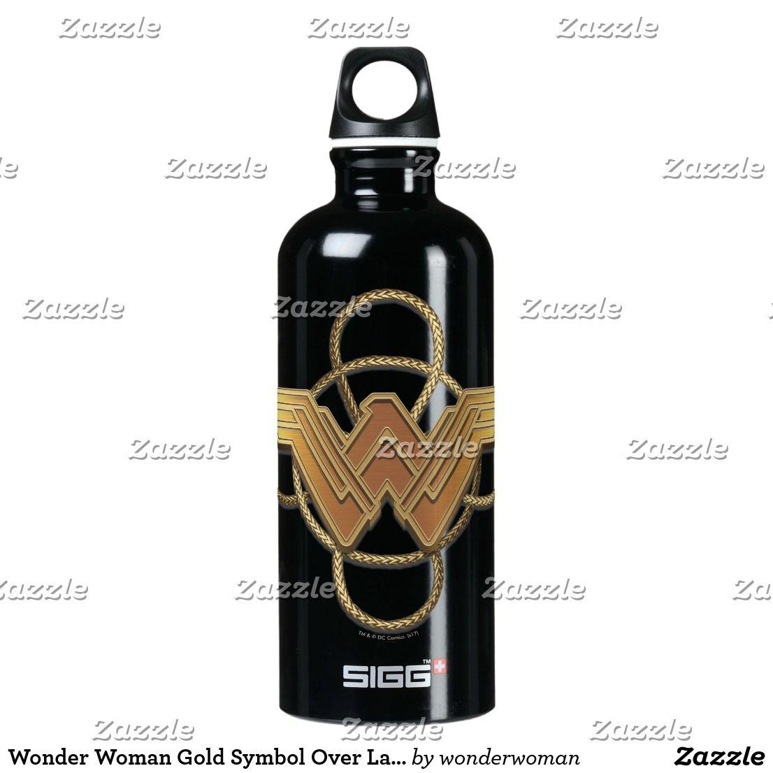 Wonder Woman Gold Symbol Over Lasso Aluminum Water Bottle Wonder