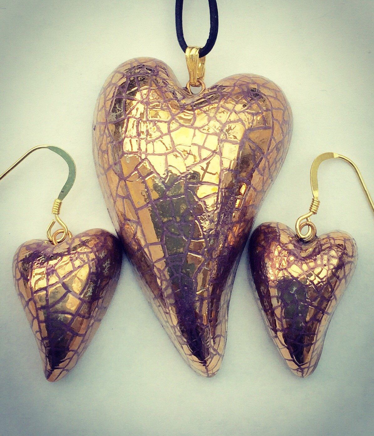 Gold heart pendant and earring set gold heart necklace with