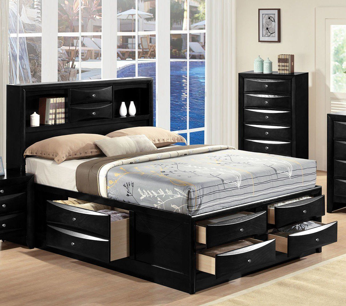 Acme 21606ek Ireland Black King Storage Bed With Bookcase Drawers King Storage Bed King Bedroom Sets Bedroom Set