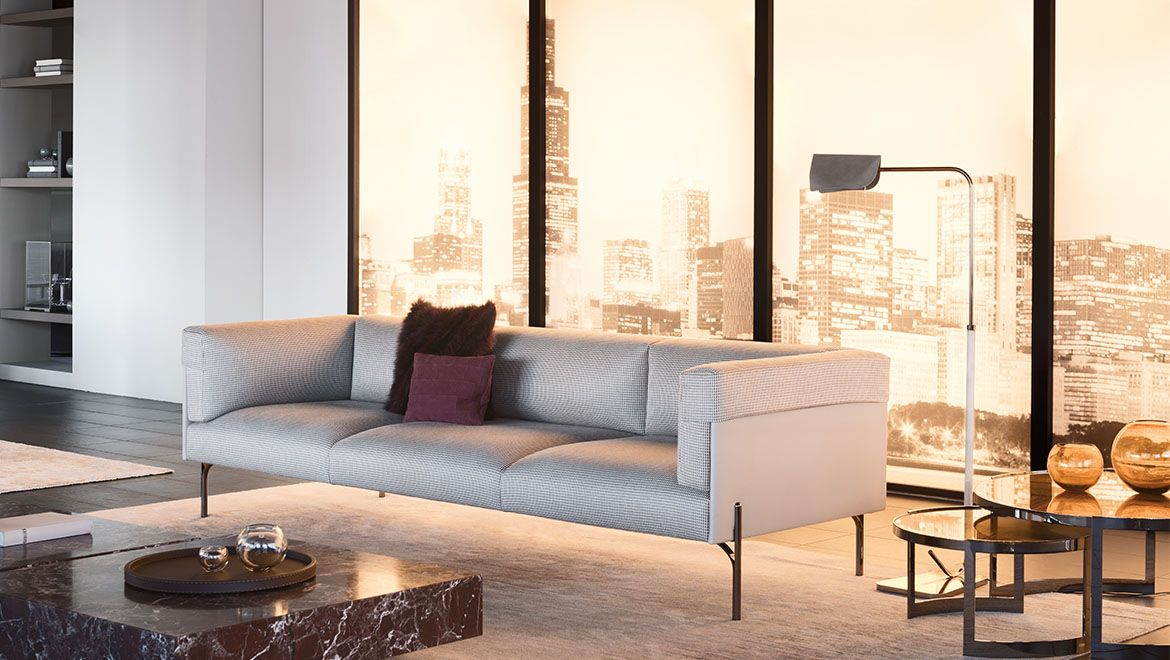 Palmer Sofa Blue Fabric Sectional 沙发 Furniture Luxury
