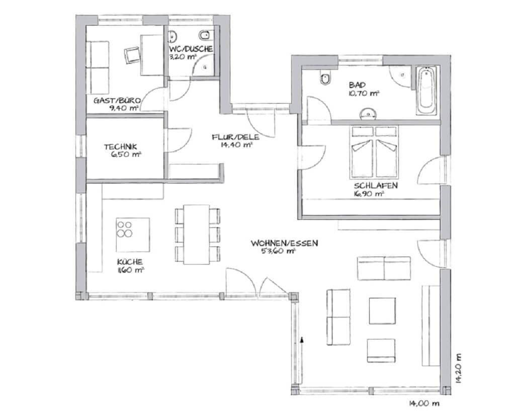 One Bedroom Bungalow Glano 126 Plan Maison Maison Et Rampe Escalier