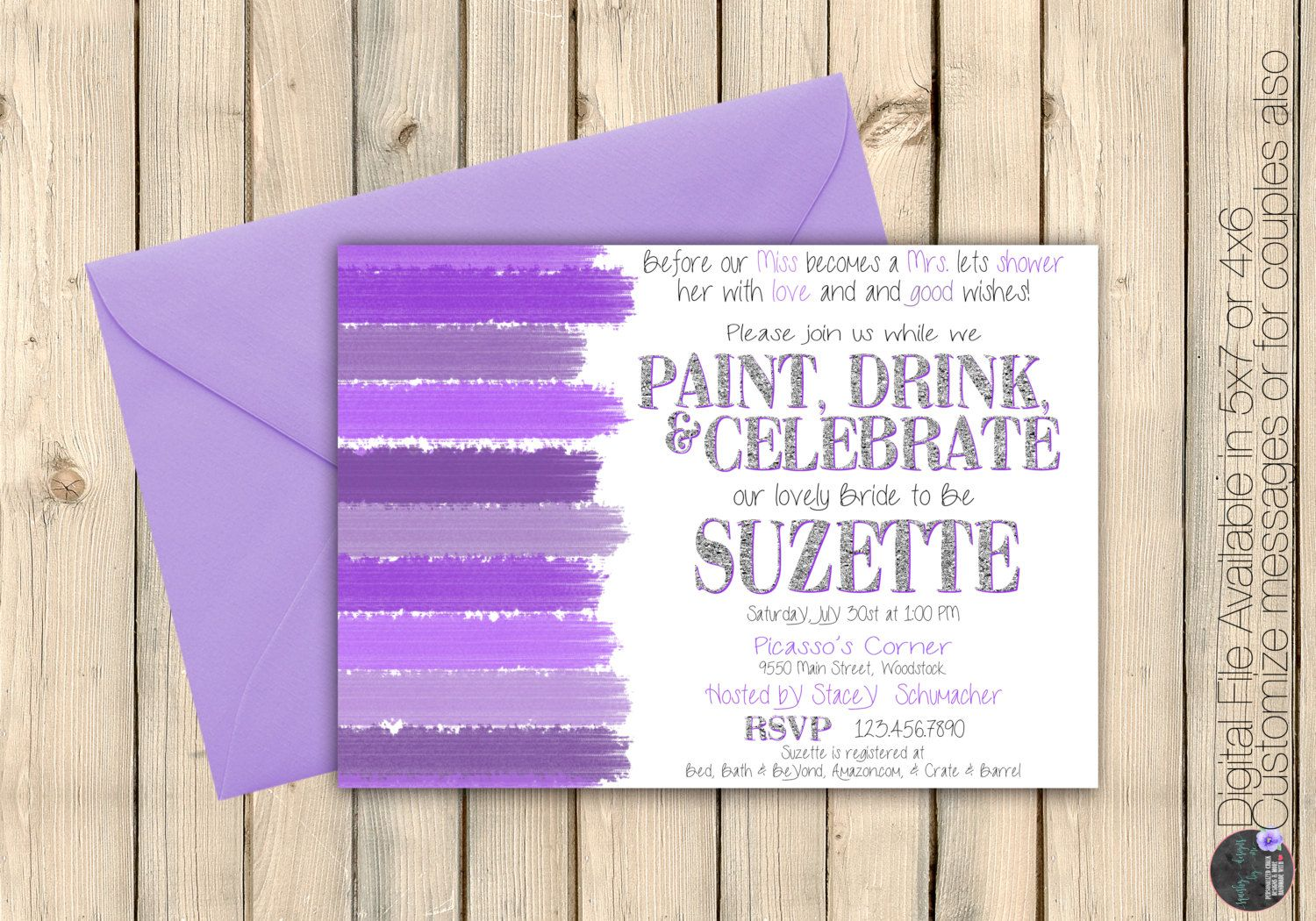 Art Party Bridal Shower Invitation, Paint and Sip Invite ...