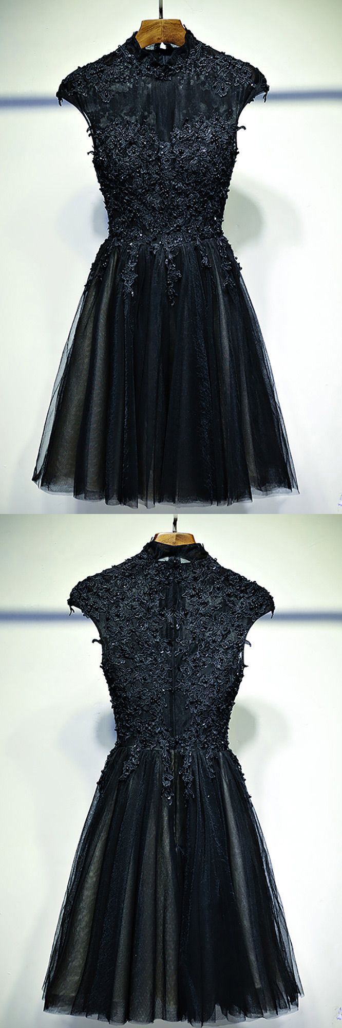 Vintage chic short black lace prom dress with cap sleeves myx