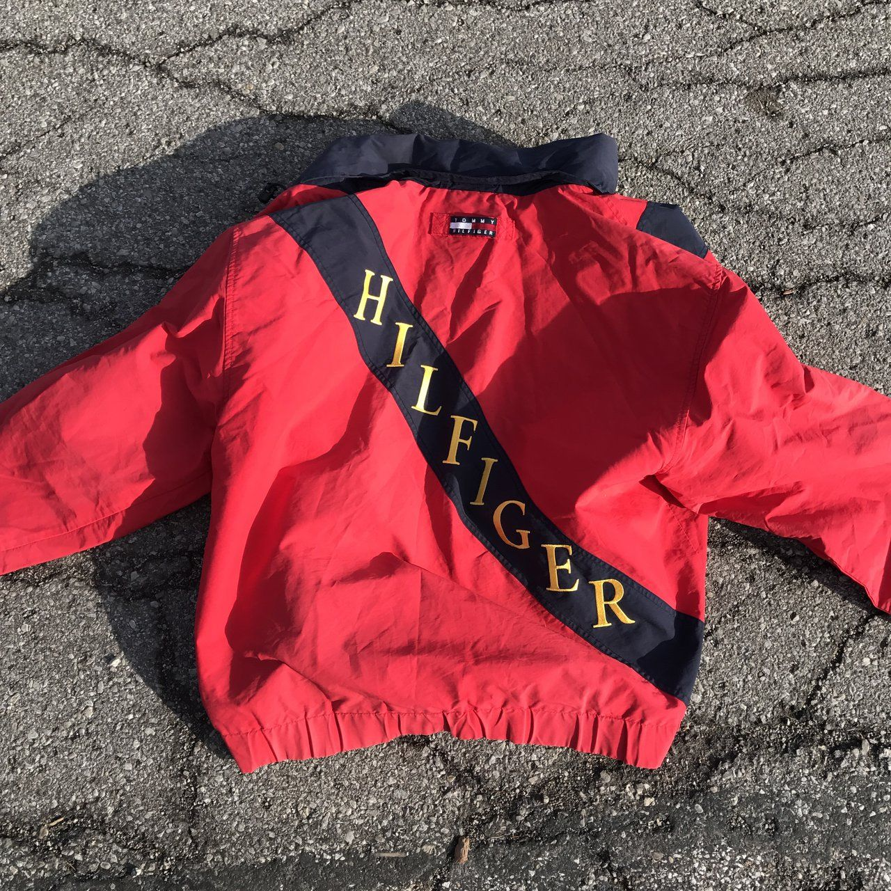 987568b91 Tommy Hilfiger Spell out Jacket size XL - Depop | My style