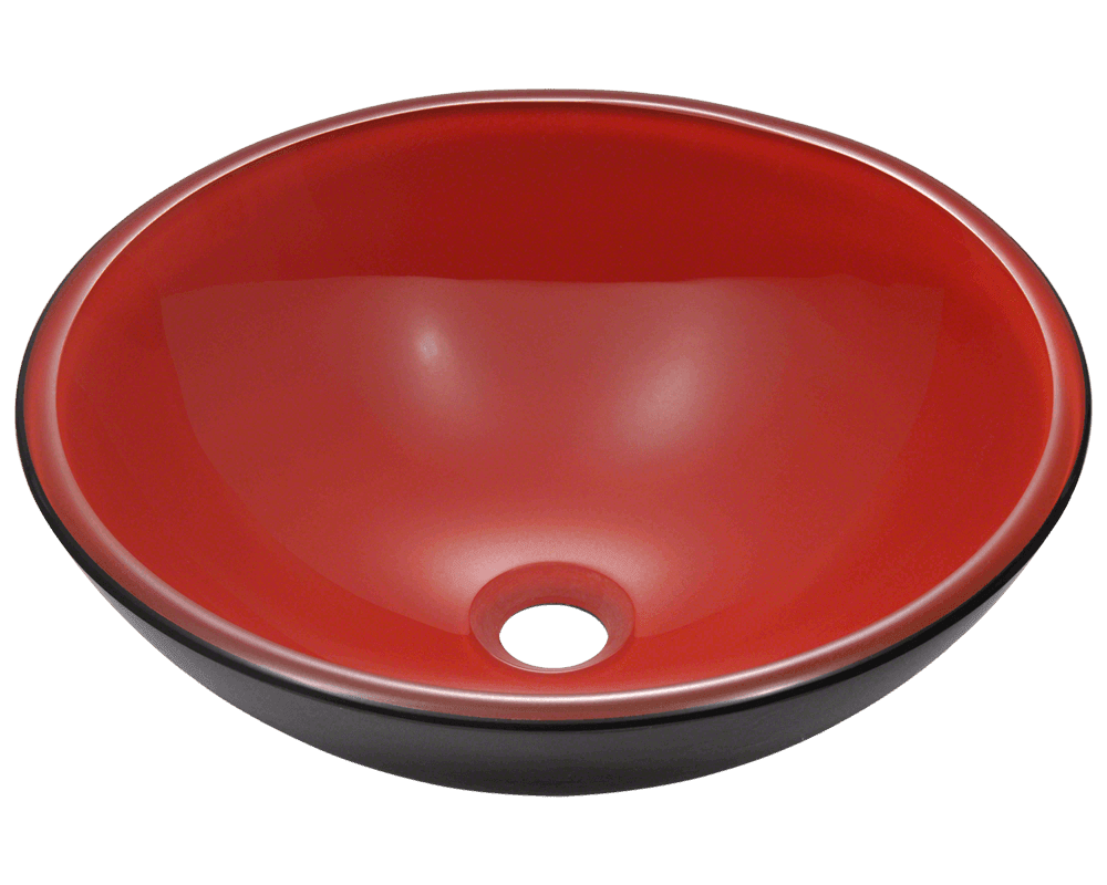 Polaris 16 1 2 Double Layer Glass Round Bathroom Vessel Sink Red And Black P606 The P606 Double Layer G Glass Vessel Sinks Glass Vessel Vessel Sink Bathroom