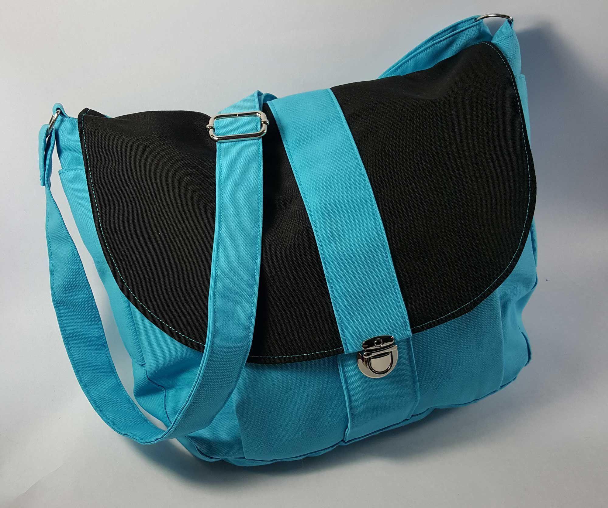 Outdoor Canvas Messenger Bag - Aqua/Batik Print