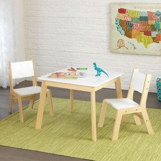 kidkraft 3 piece white and natural modern table and chair set by kidkraft - Best Table And Chairs For Toddler
