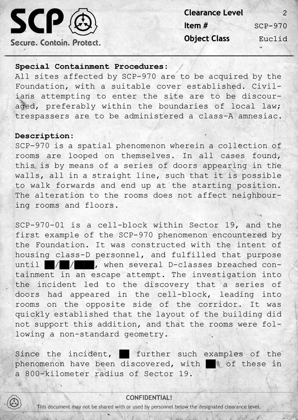 SCP-970 Document | SCP Stuff | Scp, Foundation, A whole new