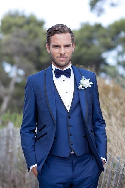Traje de novio azul chal solapa del novio esmoquin Slim Fit desgaste del novio  por encargo del novio trajes de boda para hombre 2c9bc58a954
