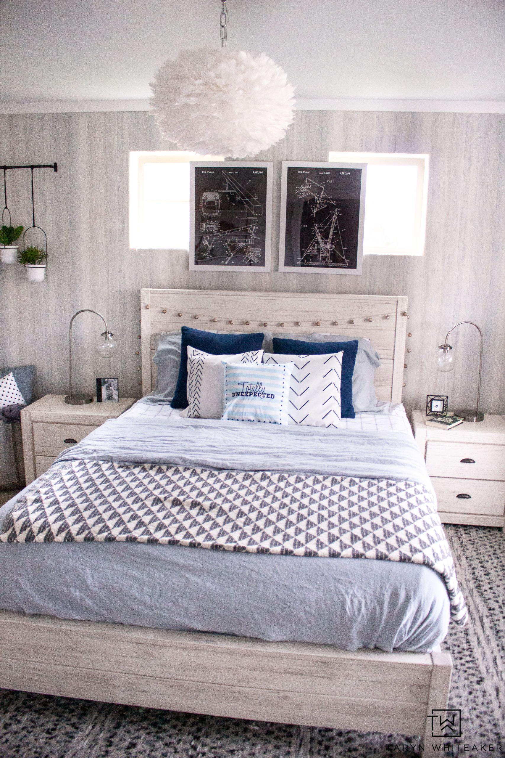 Modern Blue Girls Room In 2020 Blue Girls Rooms White Washed