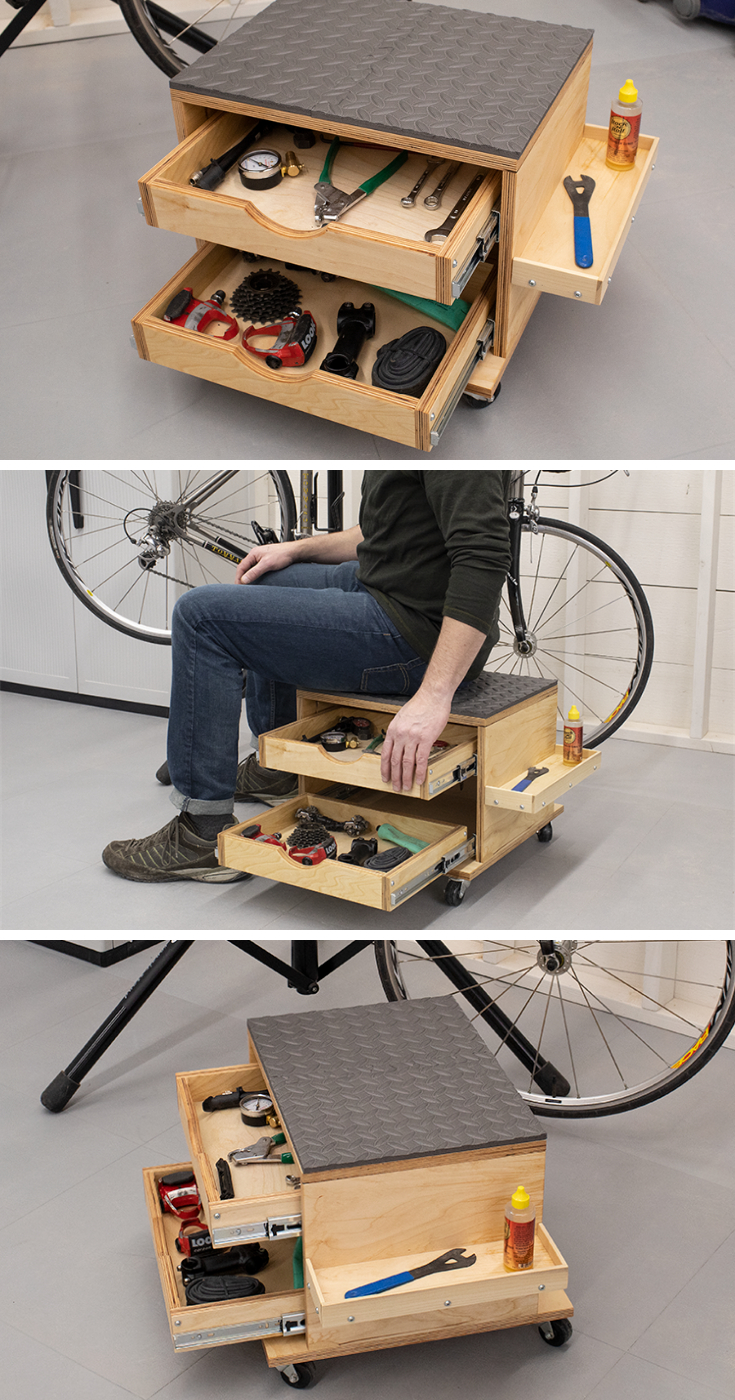 Photo of Rolling Work Seat and Tool Storage Cart