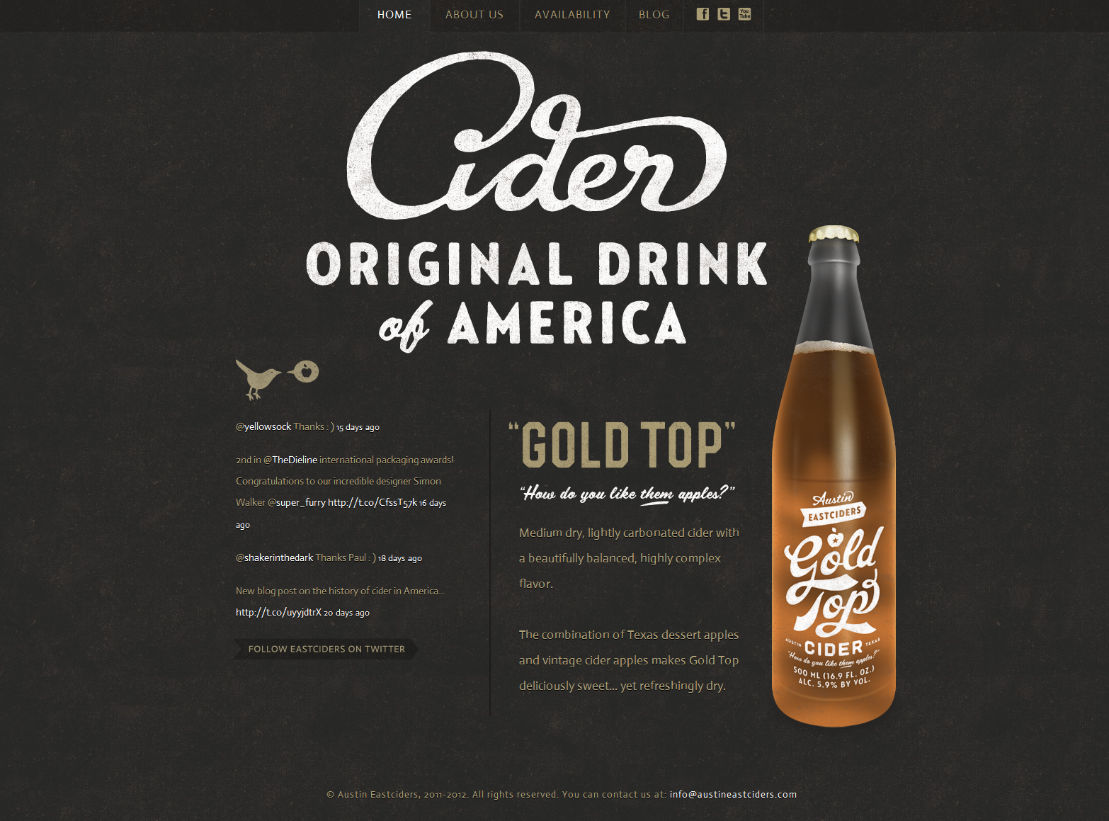 Web Design: Austin Eastciders featuring Gold Top Cider // Austin, Texas - Nice use of type, texture, illustration, minimal color palette.
