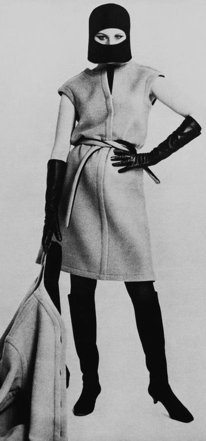 Barbra Streisand wearing Rudi Gernreich's black and tan reversible camel hair dress & coat 1960's