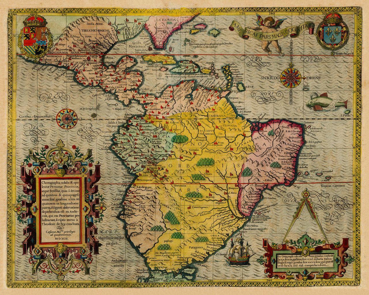 South America Caribbean De Bry Map Battlemapsus Maps - Antiques us maps with compass