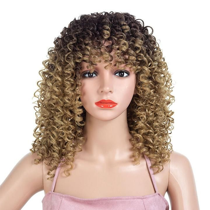Beautiful curly natural synthetic wig basic cap 2
