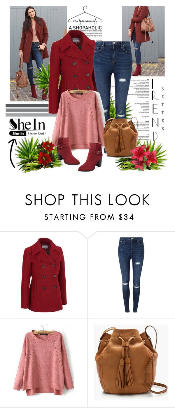 """""""SHEIN-red knit loose sweater"""" by narcisaaa ❤ liked on Polyvore featuring Marvin Richards, Miss Selfridge, J.Crew, Catherine Malandrino, vintage, Sheinside and shein"""