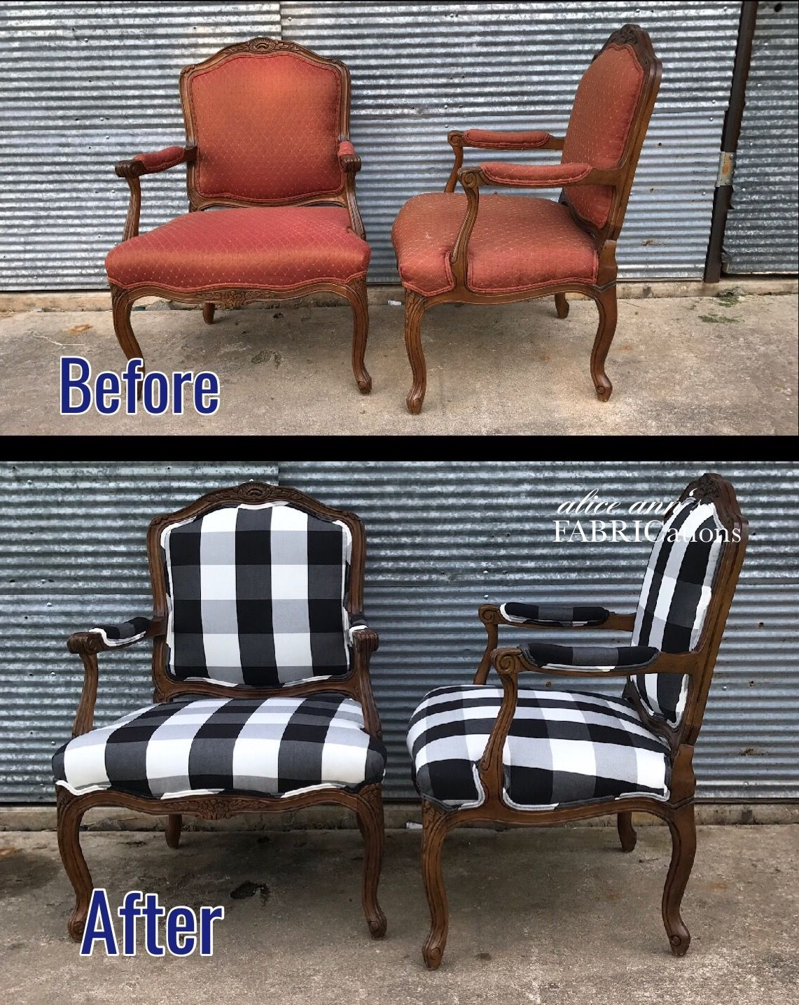 Before and After! Love the black and white check fabric ...