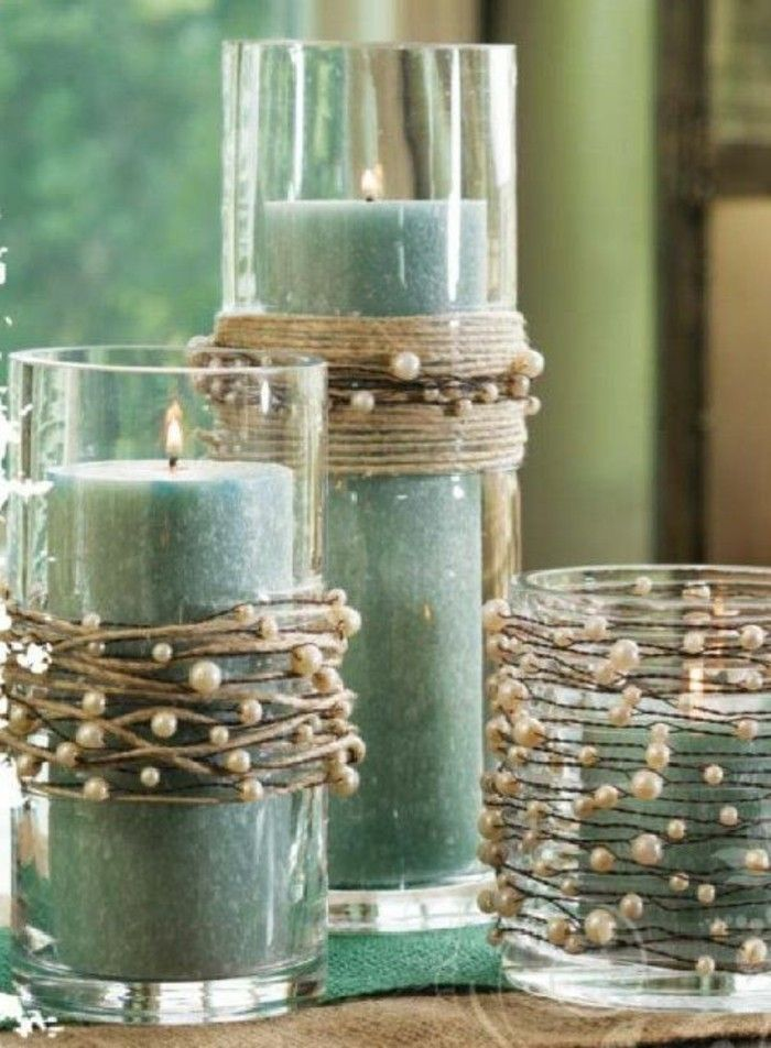 grüne Duftkerzen mit Glasperlen geschmückt Décoration - dekoideen wohnzimmer grun