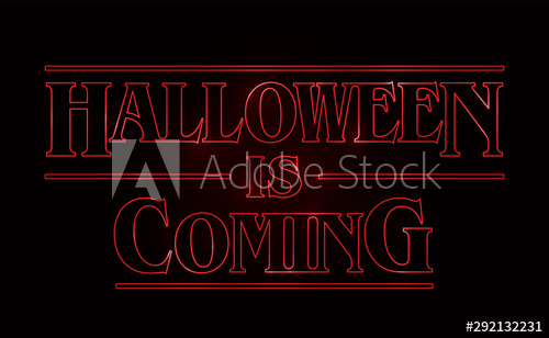 Halloween text design, Halloween is coming word with Red