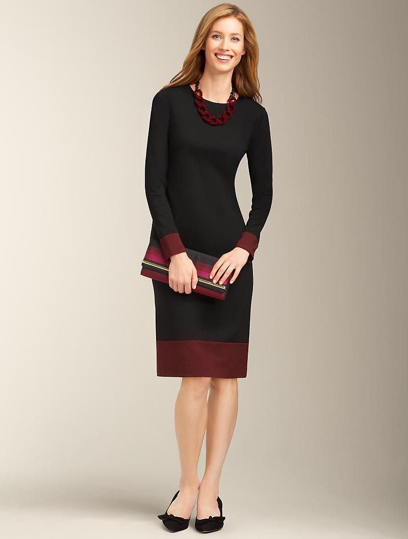 f5592c66ff4 Sangria-Stripe Boatneck Ponte Sheath. Did they even try this one a plus  size model before adding it to the collect…
