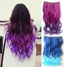 Multi colored hair streaks google search hair pinterest women multi colors full head clip in long curly hair synthetic hair extensions pmusecretfo Images