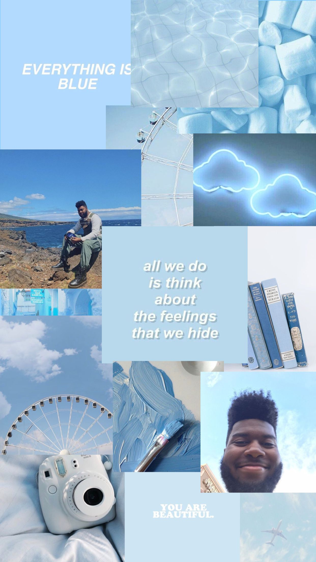Blue Aesthetic Collage Wallpaper : aesthetic, collage, wallpaper, Khalid, Collage, Wallpaper, Aesthetic,, Aesthetic, Pastel,