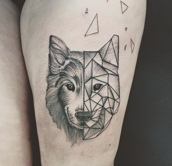 25 Amazing Geometric & Dotwork Wolf Tattoos | Geometric ...