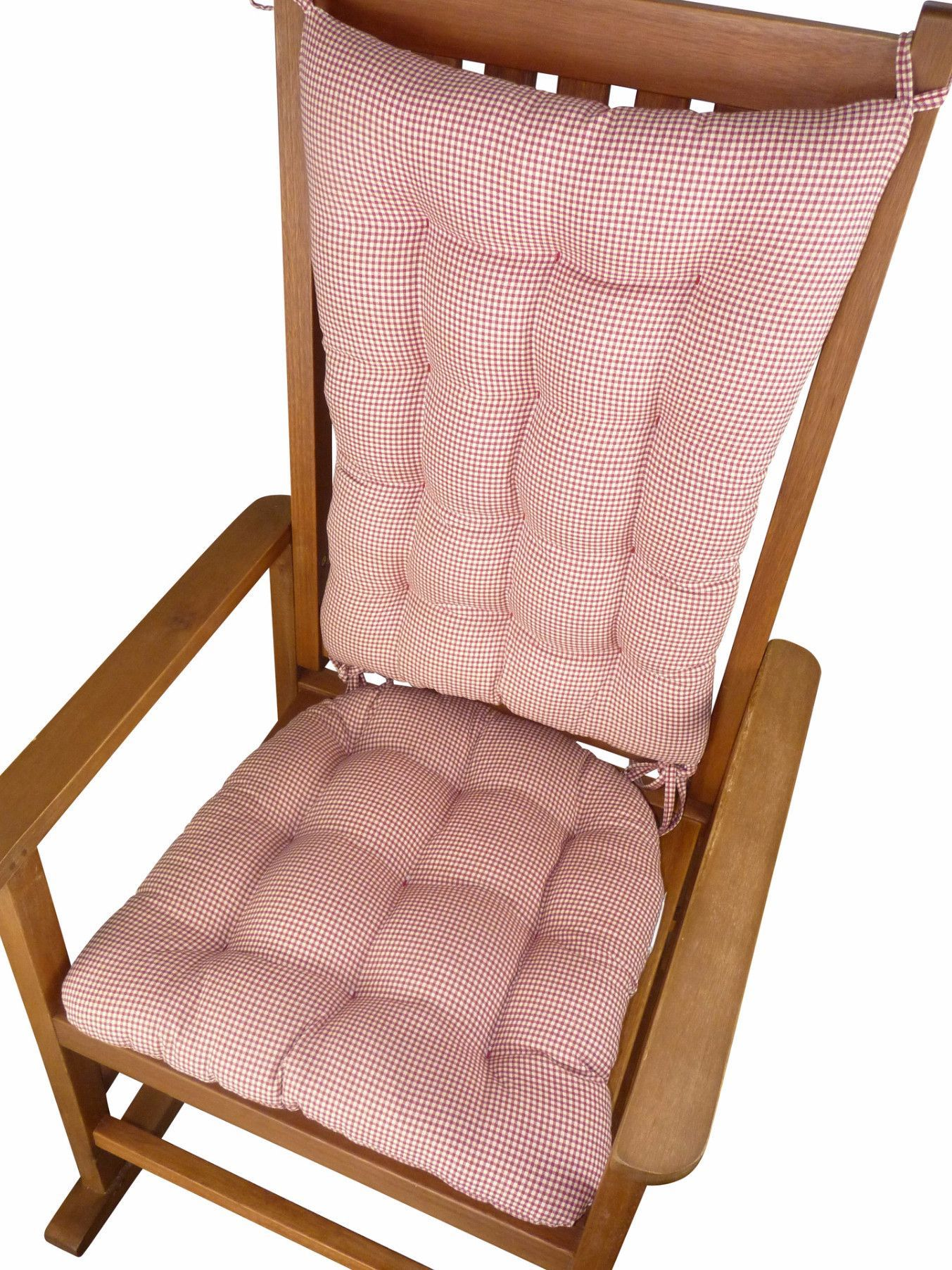 Madrid Red Gingham Rocking Chair Cushions Latex Fill