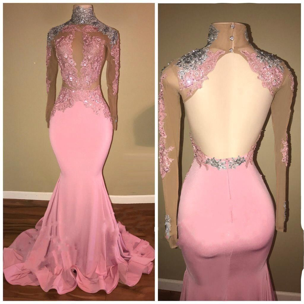 Elegant pink mermaid prom dresses high neck openback beaded