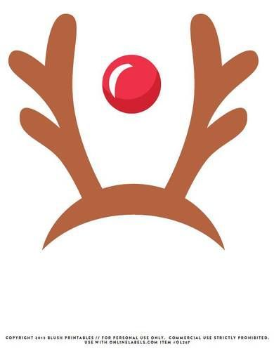 Reindeer Antlers Red Nose Printable Photo Booth Prop Photobooth Props Printable Christmas Photo Booth Christmas Props