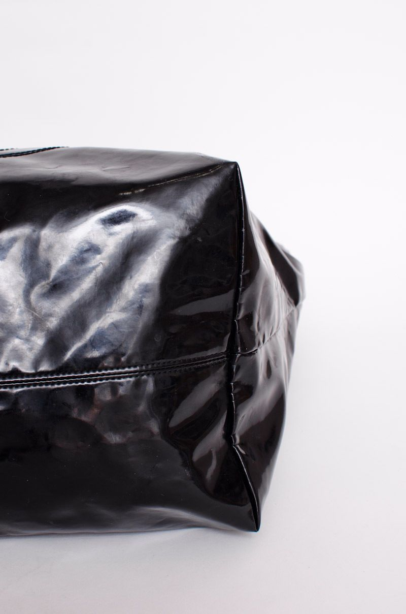 c04fdeb6959f CHANEL Black Patent Leather Coco Cabas Tote Chain Large Shopper Silver Bag  Purse $950.0
