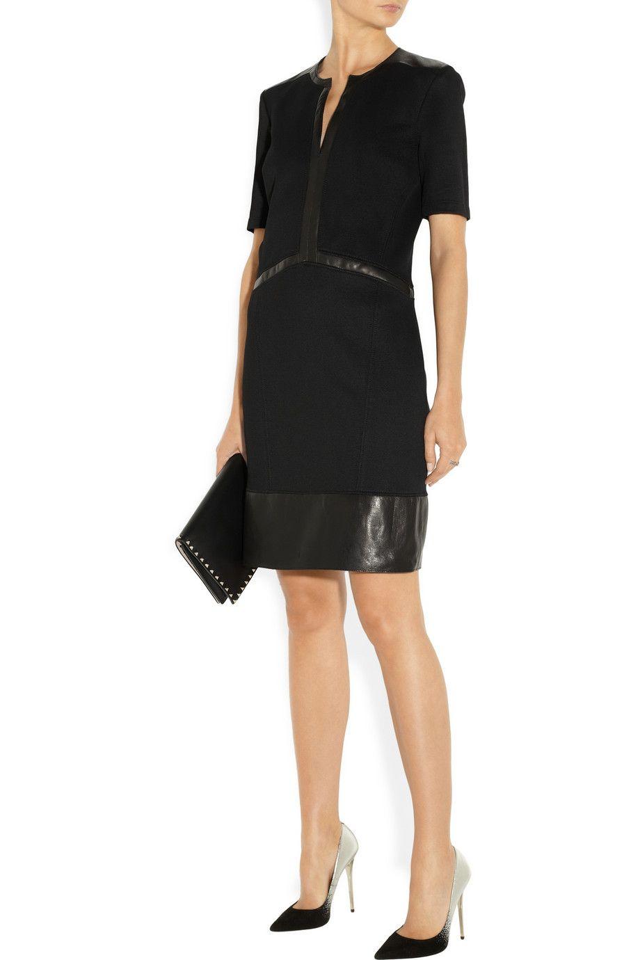 Helmut Lang Motion leathertrimmed stretchknit dress