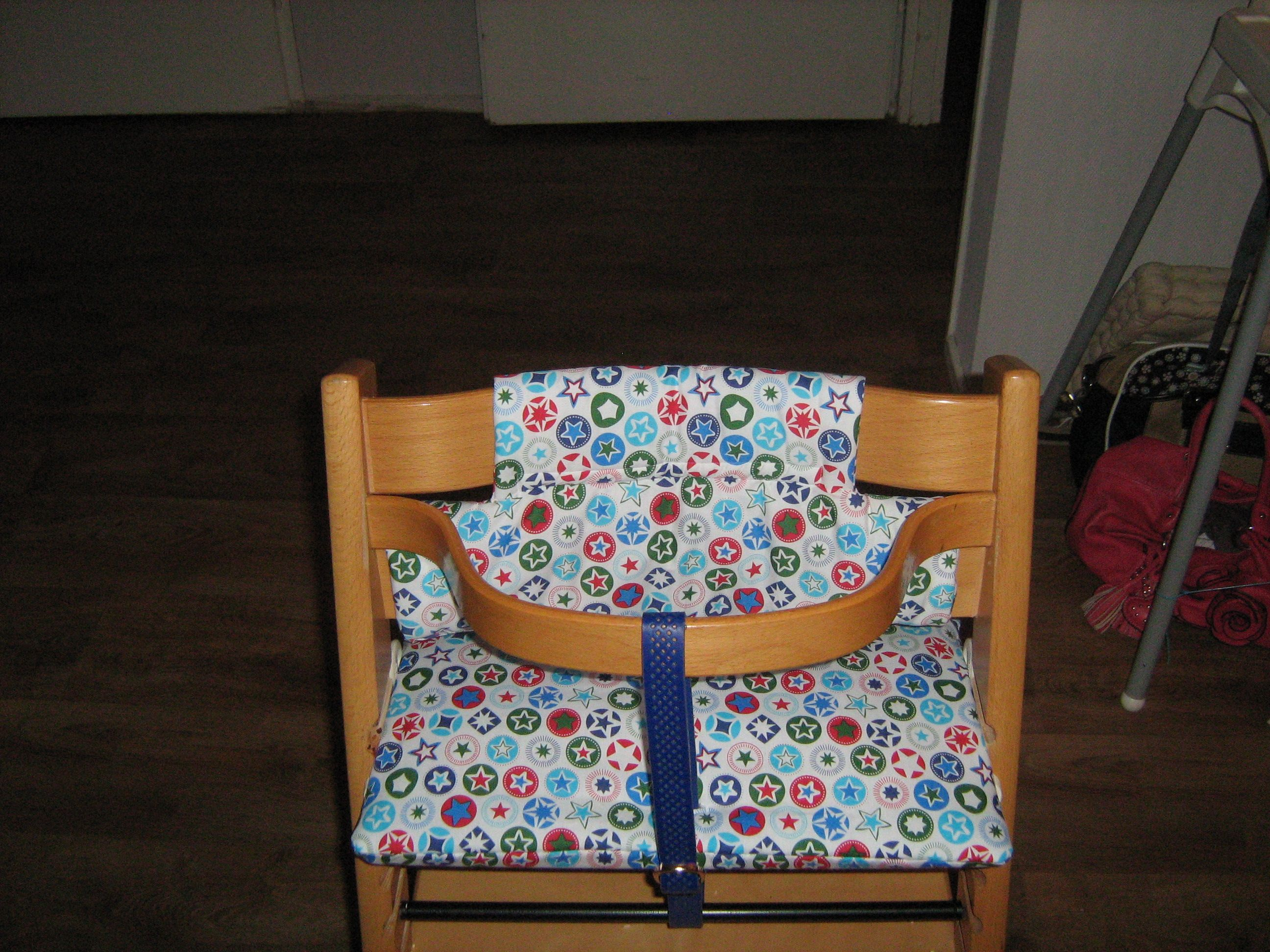 Stokke Tripp Trapp high chair cushions, made by me. Kinderstoel kussens zelfgemaakt.