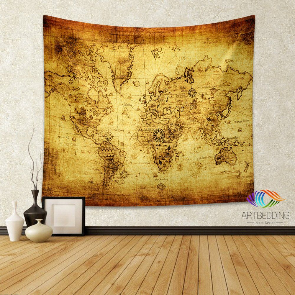 Antique old map wall tapestry, vintage world map wall hanging, old ...